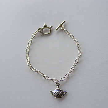 Charm Bracelets Sterling Silver Child S Teapot Toggle Bracelet With Victorian Motif Mini Tharm